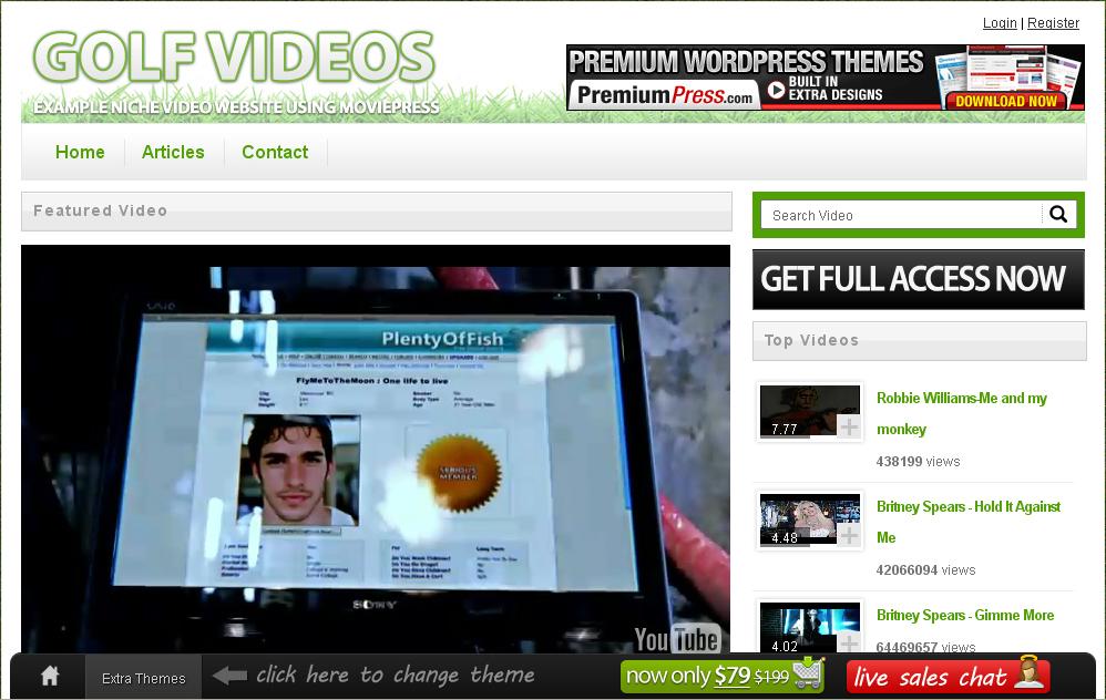 Movie Theme for Wordpress Screenshot