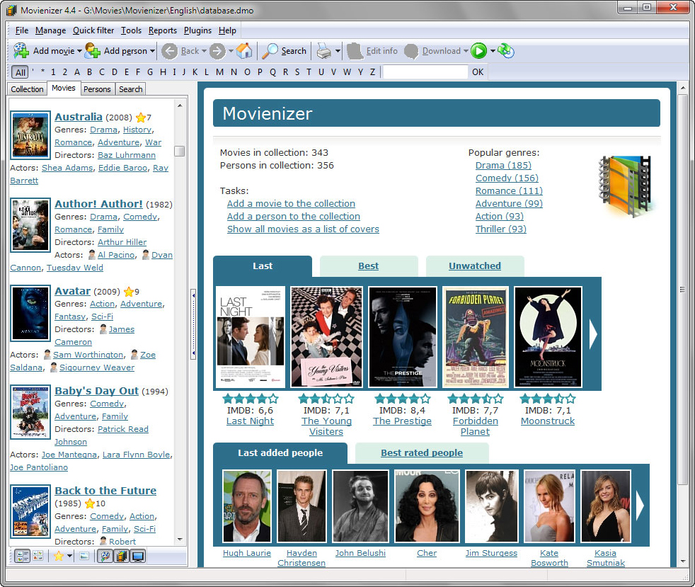 Movienizer, Cataloging Software Screenshot