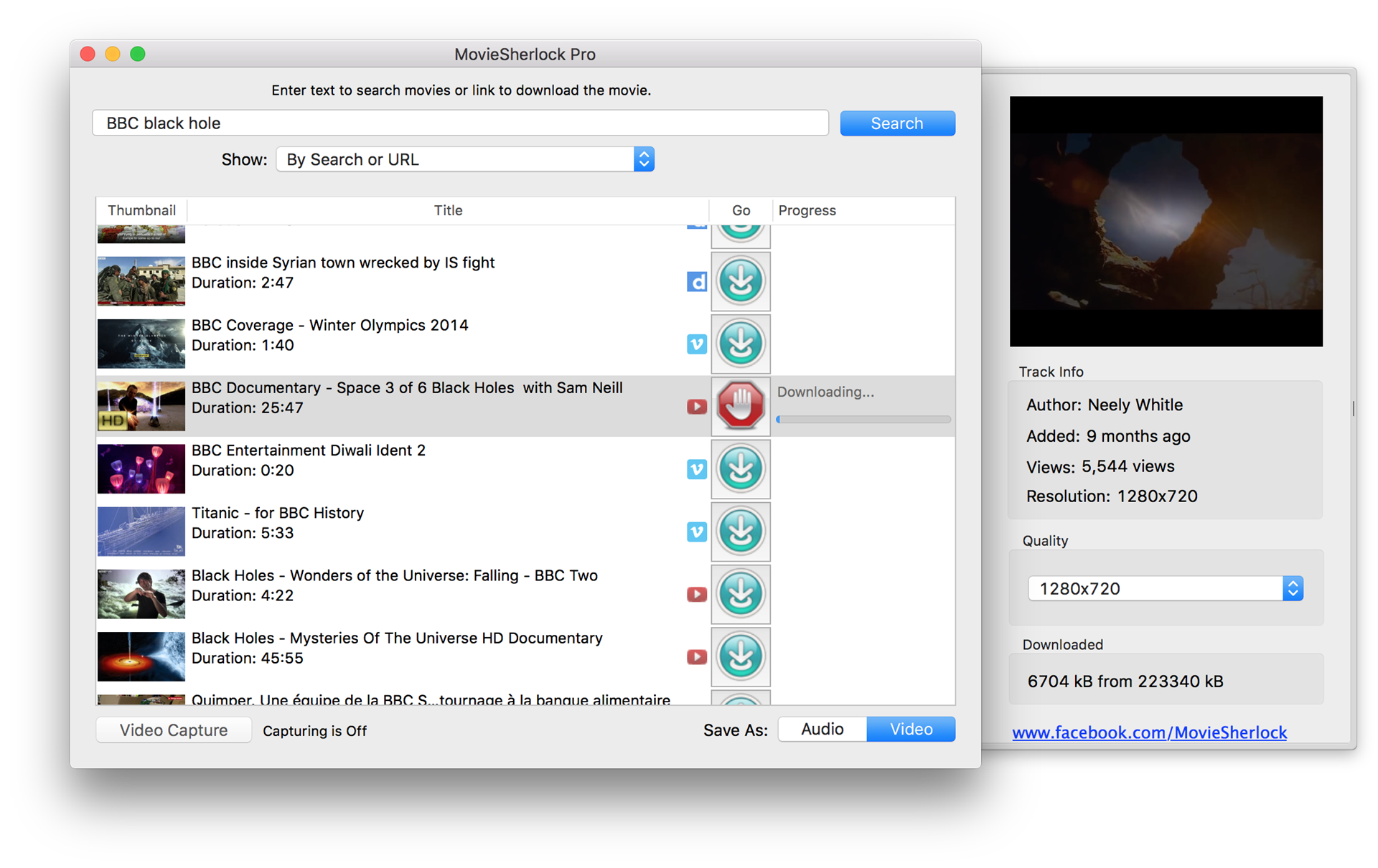 MovieSherlock Pro, Online Video Software Screenshot