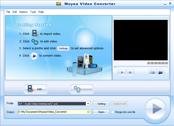 Moyea Video Converter Screenshot