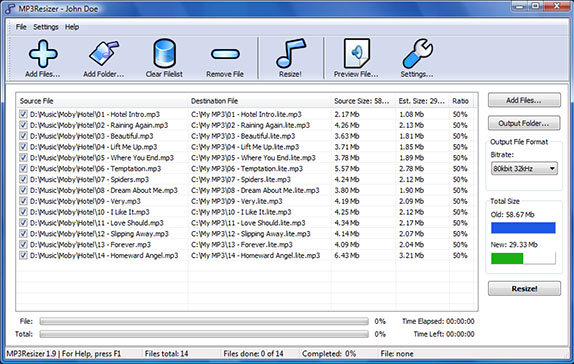 MP3Resizer Screenshot