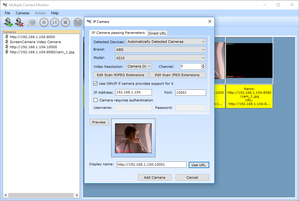 Multiple Camera Monitor, Activity Monitoring Software Screenshot