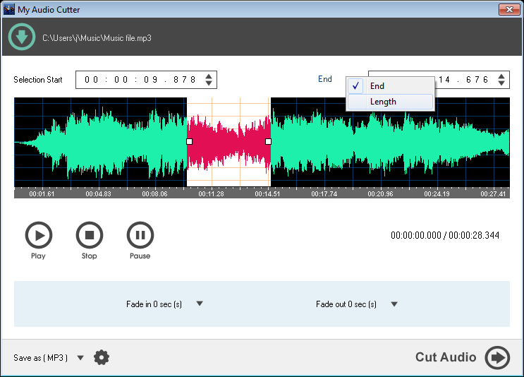 My Audio Cutter, Audio Software Screenshot