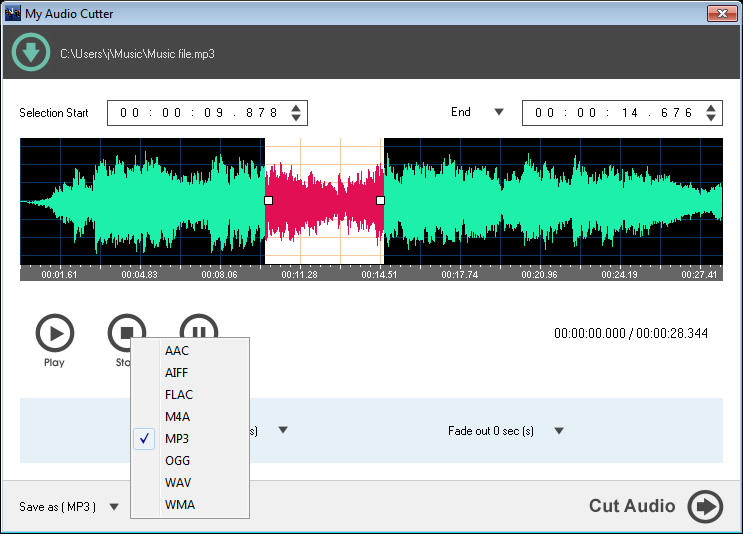 My Audio Cutter, MP3 Recording Software Screenshot
