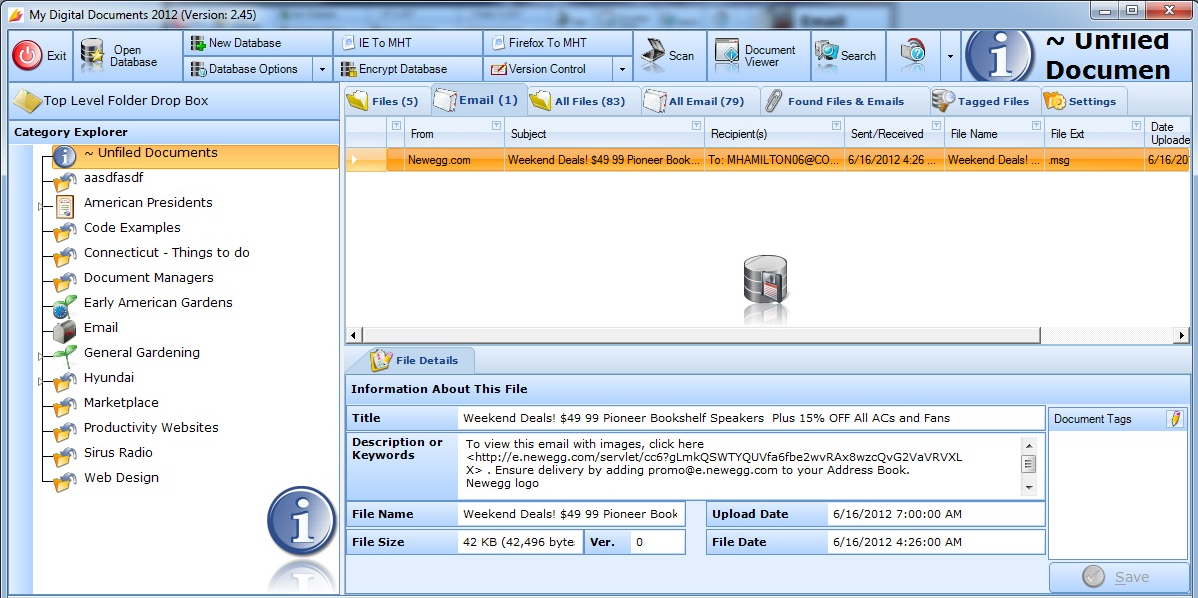 My Digital Documents 2012, Backup Files Software Screenshot