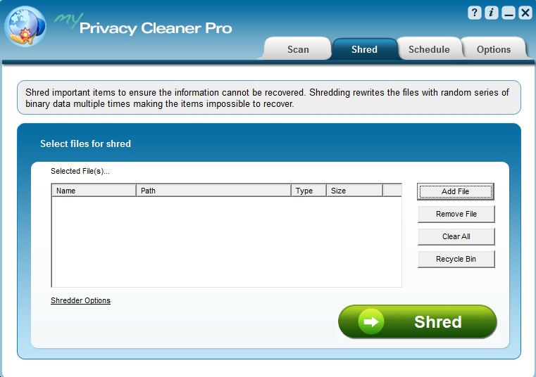 My Privacy Cleaner Pro, Access Restriction Software Screenshot