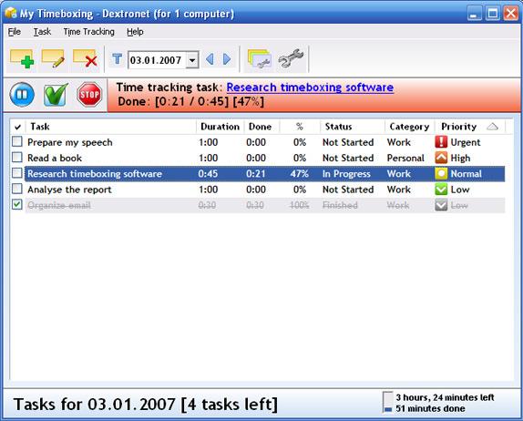 My Timeboxing Screenshot