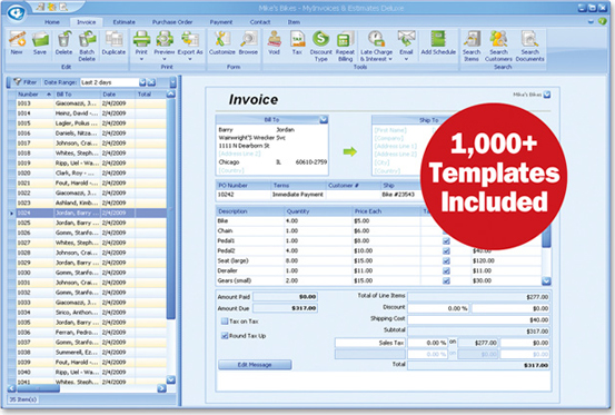 MyInvoices & Estimates Deluxe 9, Finance Software Screenshot