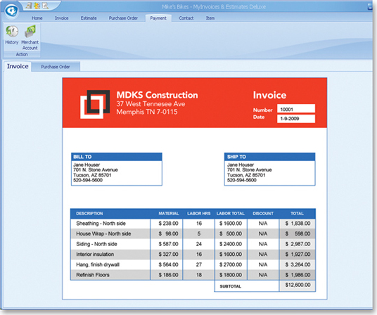 MyInvoices Estimates Deluxe Finance Software For PC - Construction estimate and invoice software