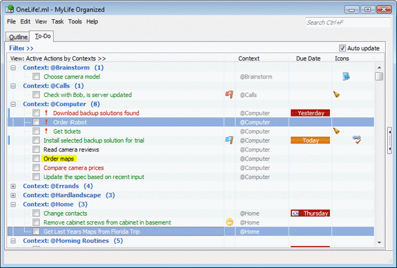 MyLifeOrganized Professional, Productivity Software Screenshot