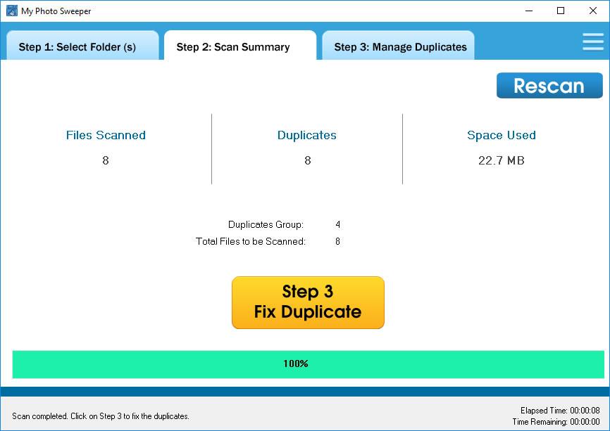 MyPhotoSweeper, Duplicate Files Software Screenshot