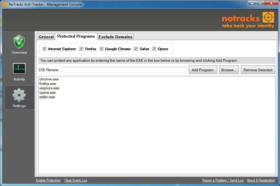 NoTracks, Website Security Software Screenshot