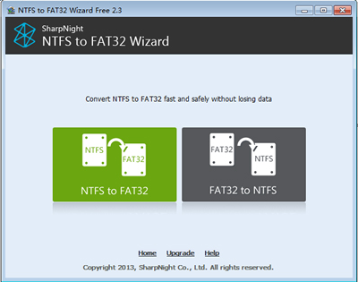 NTFS to FAT32 Wizard [Home] Screenshot