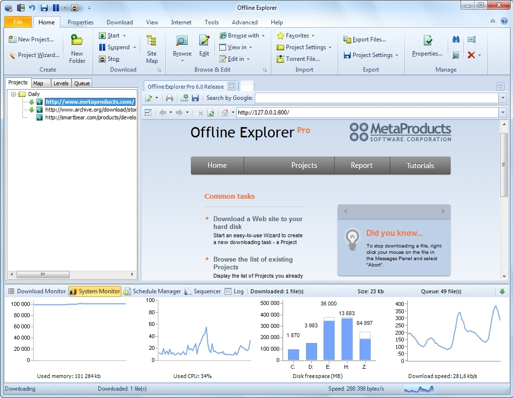 Offline Explorer Pro Screenshot