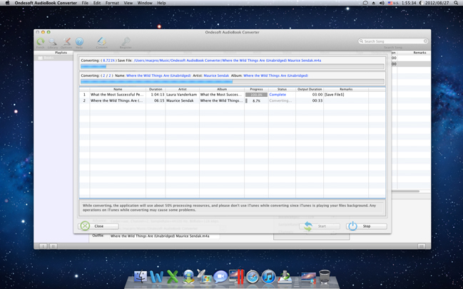 Audio Conversion Software, Ondesoft AudioBook Converter for Mac Screenshot