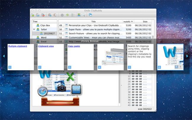 Ondesoft ClipBuddy for Mac, Desktop Customization Software Screenshot