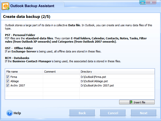 Outlook Backup Assistant 7, Backup Email Software Screenshot