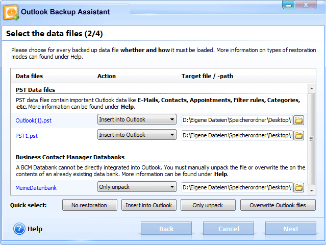 Outlook Backup Assistant 7, Security Software, Backup Email Software Screenshot