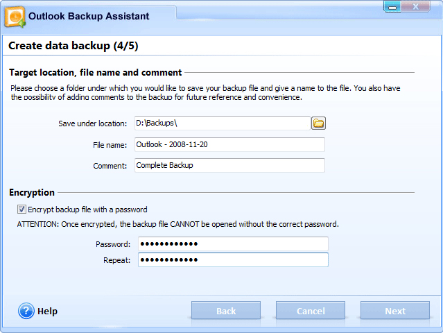 Outlook Backup Assistant 7 Screenshot