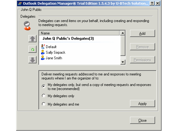 Outlook Delegation Manager Screenshot