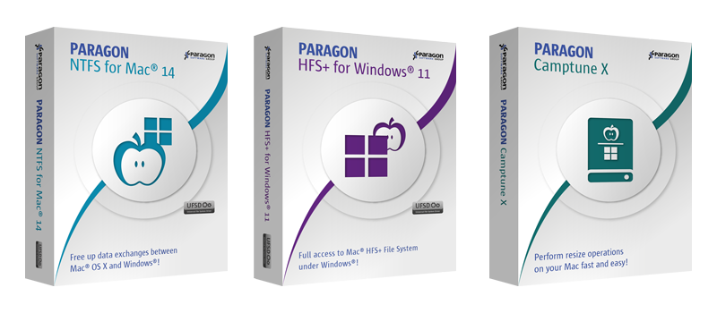 Paragon 3-in-1 Mac Bundle: NTFS for Mac 14 & HFS+ for Windows 11 & Camptune X Screenshot