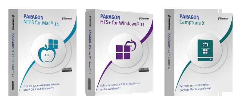 Paragon 3-in-1 Mac Bundle: NTFS for Mac 14 & HFS+ for Windows 11 & Camptune X Screenshot