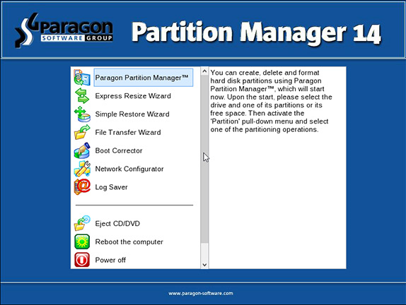 Paragon Partition Manager Home, Software Utilities Screenshot