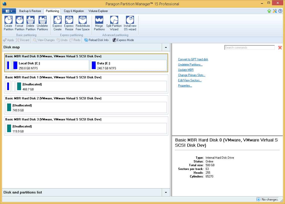 Hard Drive Software, Paragon Partition Manager Professional Screenshot