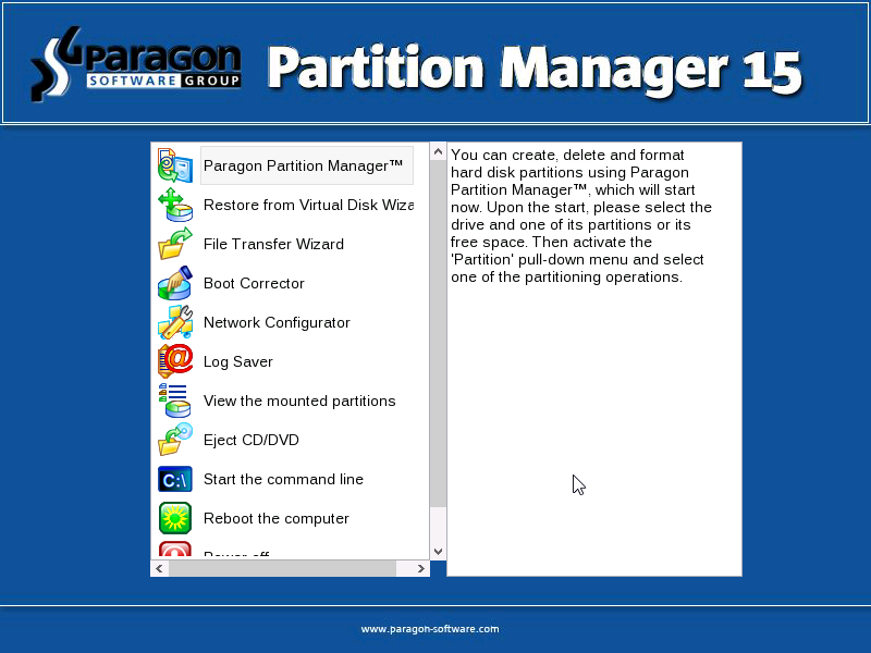 Software Utilities, Paragon Partition Manager Professional Screenshot