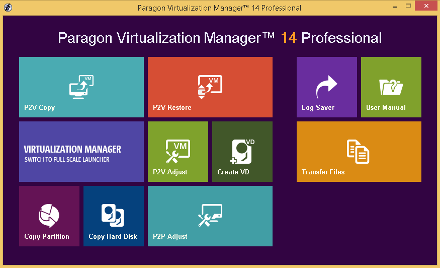 Paragon Virtualization Manager 14 Professional Screenshot
