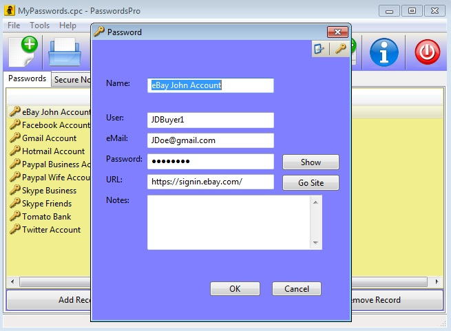 PasswordsPro Screenshot