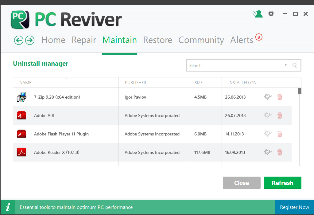 PC Reviver, PC Optimization Software Screenshot