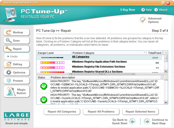 PC Tune-Up, Software Utilities Screenshot
