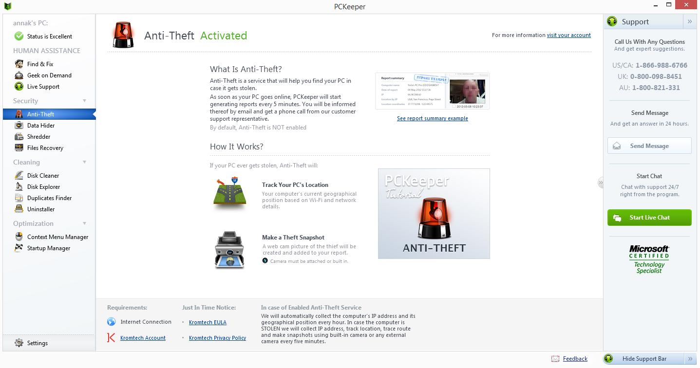 PCKeeper Live Screenshot