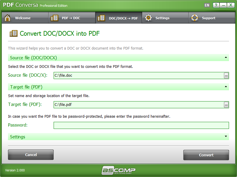 PDF Conversa, PDF Conversion Software Screenshot