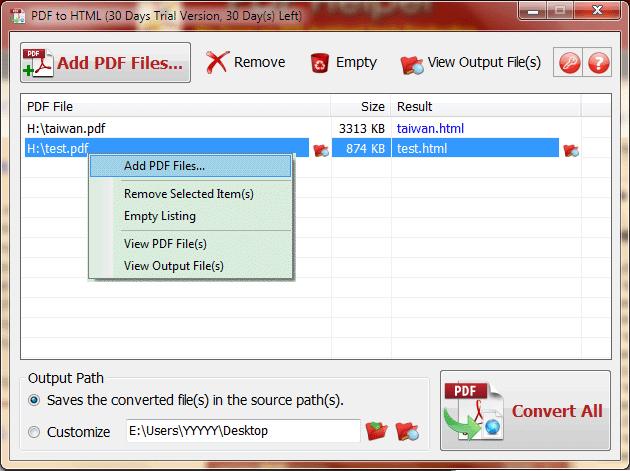 PDF to HTML Screenshot