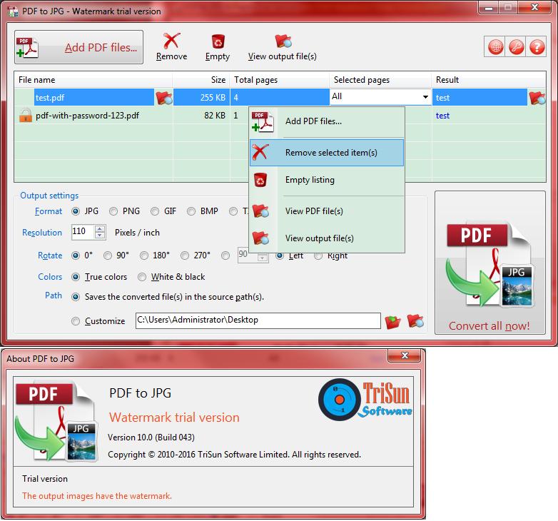 PDF to JPG Screenshot