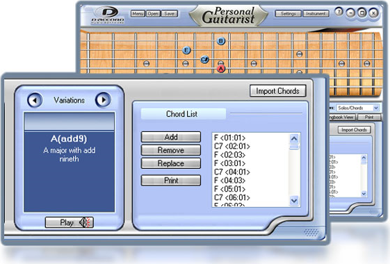 Personal Guitarist, Music Software Screenshot