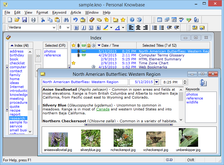 Personal Knowbase, PIM Software Screenshot