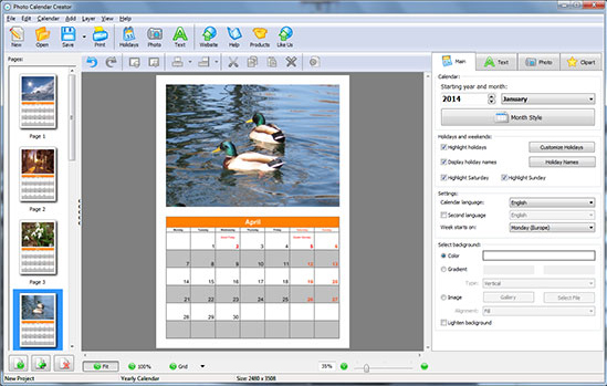 Design, Photo & Graphics Software, Photo Calendar Creator PRO Screenshot
