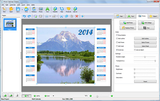 Photo Calendar Creator PRO, Design, Photo & Graphics Software Screenshot