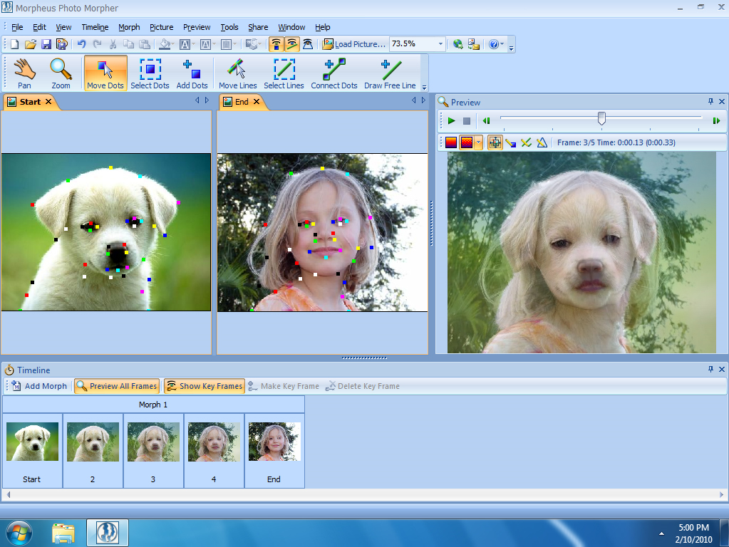 Photo Morpher, Morphing Software Screenshot