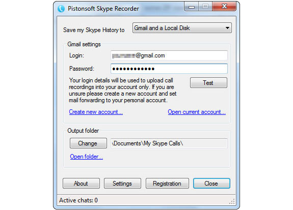 Pistonsoft Skype Recorder Screenshot