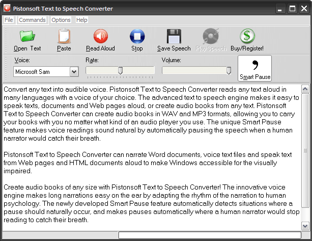 Pistonsoft Text to Speech Converter Screenshot