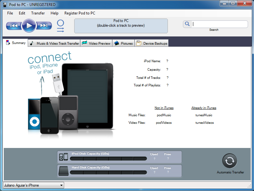 Pod to PC Screenshot