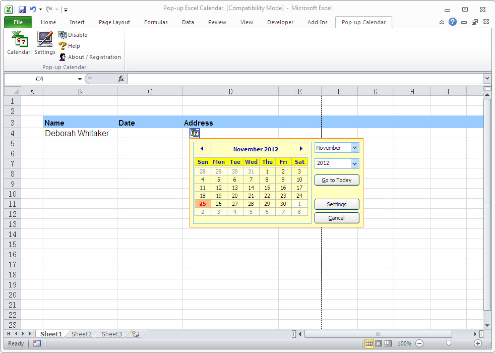 Pop-up Excel Calendar Screenshot