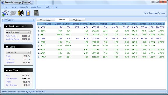 Portfolio Management Software Screenshot