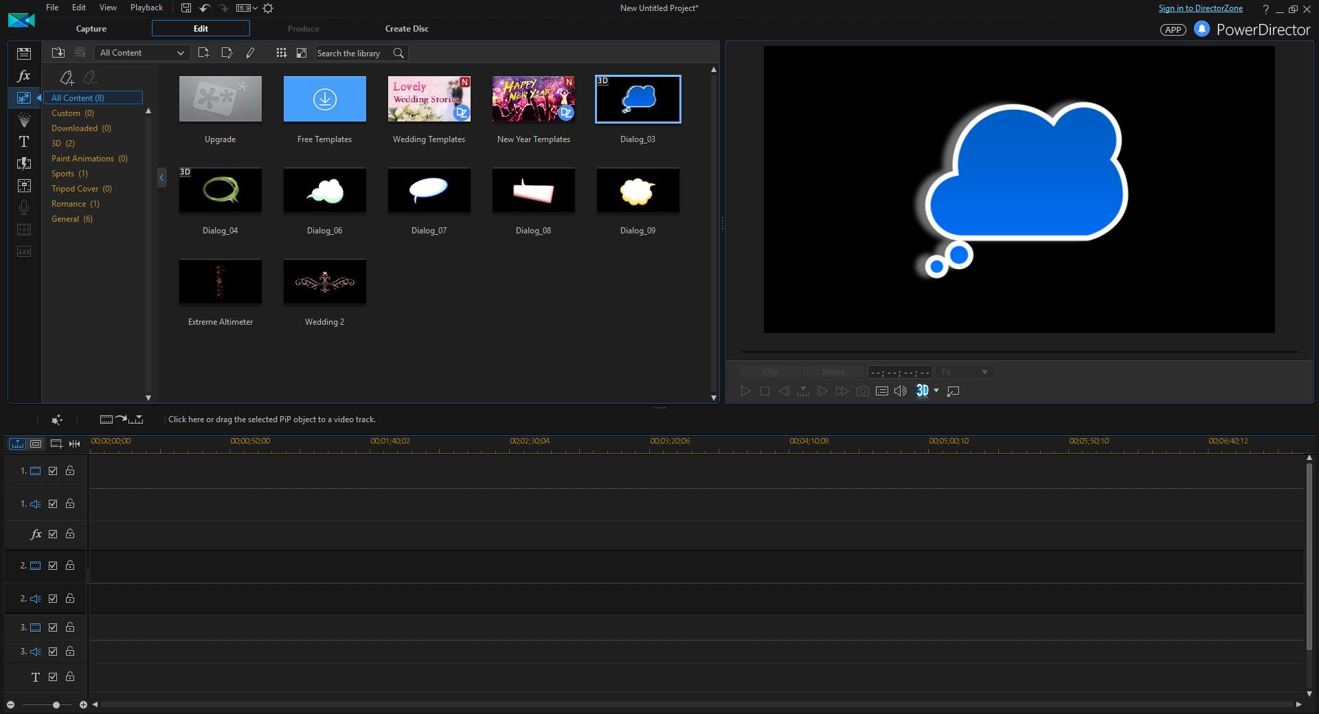 PowerDirector, Video Software Screenshot