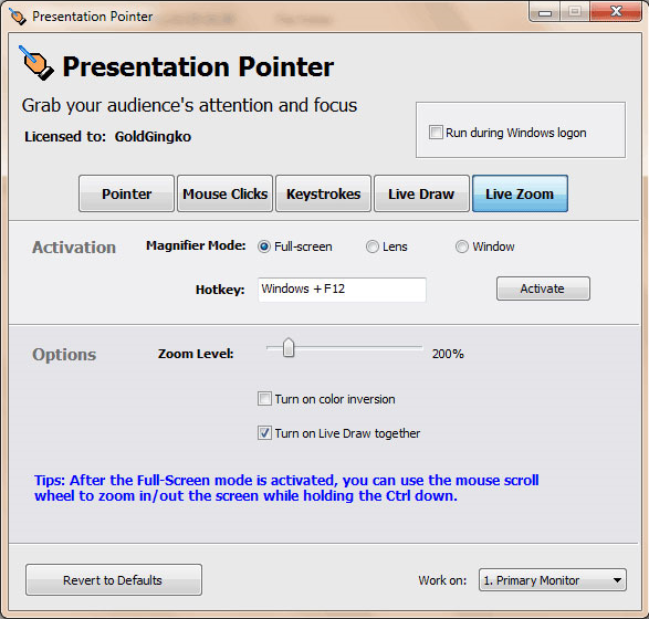 Presentation Pointer, Presentation Software Screenshot