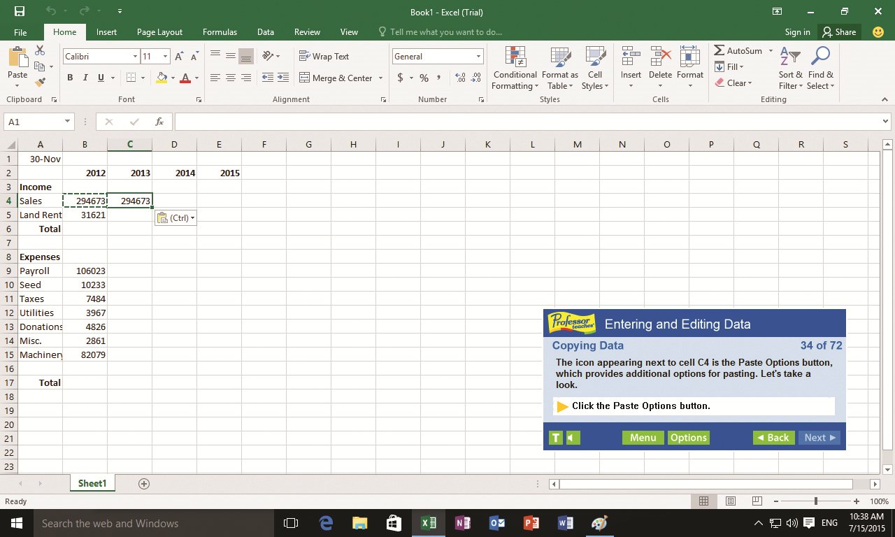 Professor Teaches Excel 2016 Screenshot
